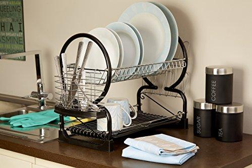 -[ Premier Housewares 2-Tier Dish Drainer, 56 cm - Black  ]-