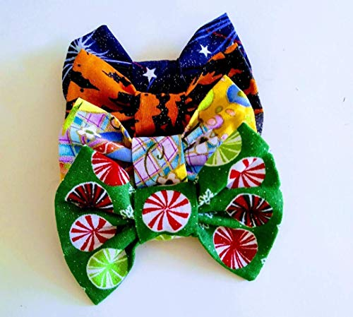 Cat or Dog Bow Ties Slide on existing collar style. Christmas July Fourth Easter and Halloween Holiday