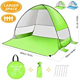 SLB Pop Up Beach Tent, Sun Shelter Shade Easy Up Portable Anti UV Cabana Beach Umbrella for Outdoor 3 or 4 Person