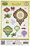 Justrite 17-Piece Papercraft Cling Stamp Set, 5.5 by 8.5-Inch, Merry and Bright