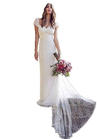 Dislax Cap Sleeve Low Back Bridal Gowns Lace Wedding Dresses at ...