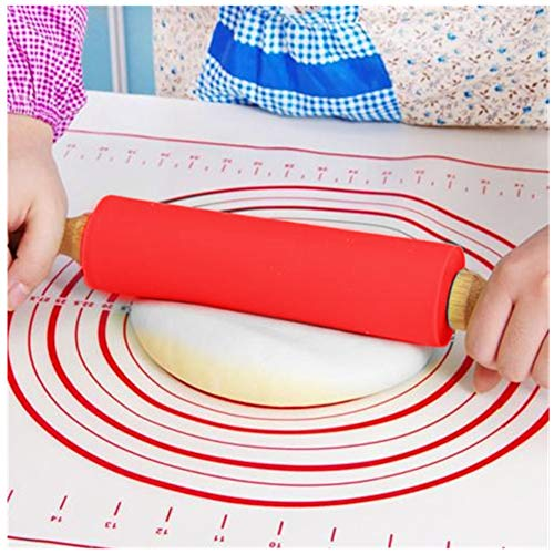 Silicone Rolling Pin for Kids, HONGLIDA 12-inch Roller Pin Non-Stick Surface Wooden Handle