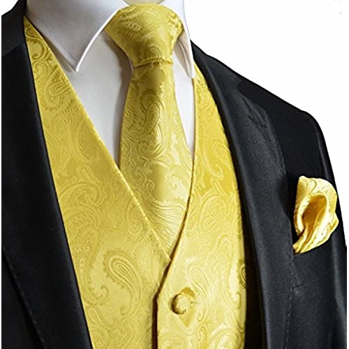 Mens 3pc Paisley Design Dress Vest Tie Handkerchief Set For Suit or Tuxedo (3XL (Chest 54), Gold)