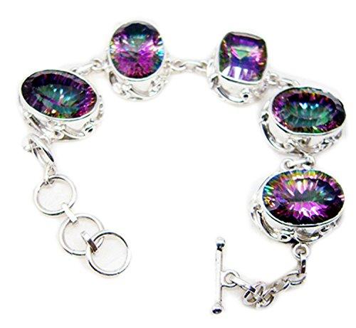 Gemsonclick Mystic à quartz Argent sterling 925Pierre précieuse Bracelet Bijoux _ Gcb429