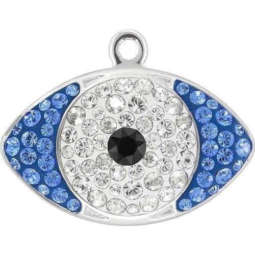 67544 Swarovski Pendant Pave Eye | Jet & Crystal & Silver Shade - Rhodium | 12.5mm - Pack of 6 (Wholesale) | Small & Wholesale Packs