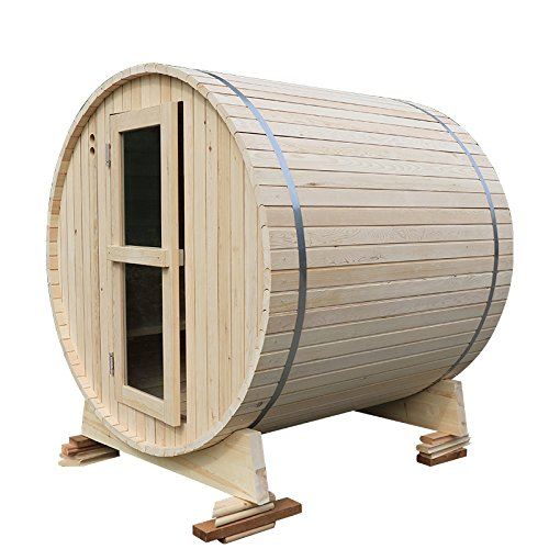 Wooden, barrel-type sauna room with electrical heater and sauna stove.