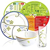 """Portion Control Kit from Precise Portions – Complete Glassware & Porcelain 1 Place Set – 9"""" Plate with Dividers - 18 oz Bowl – Drinking Glass - Eating Right Nutrition Discs for Health & Diabetes"""