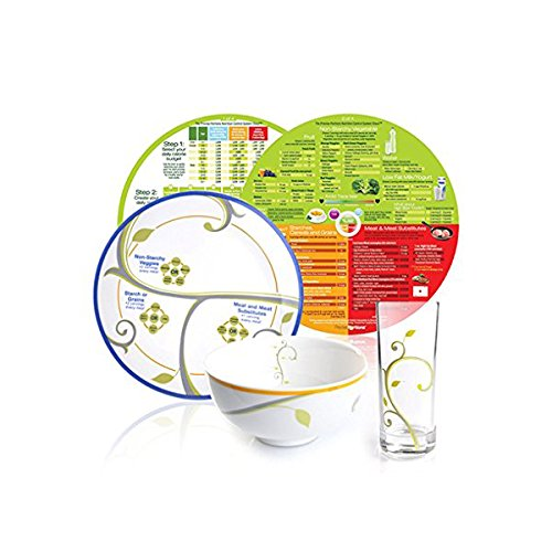 Precise Portions Portion Control Porcelain Set with Dividers, Glass, and Nutrition Guide by Precise Portions
