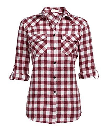 (Genhoo Women's Roll Up Long Sleeve Tartan Plaid Collared Button Down Boyfriend Casual Flannel Shirt Top(Wine Red,S))