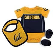 Outerstuff Baby Cal Golden Bears Bib Bootie and Bodysuit Set
