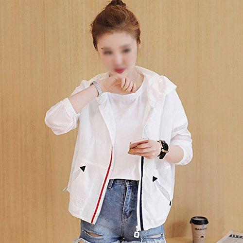 QFFL fangshaifu 女性の自己栽培フード付き長袖日焼け止め服/夏の細いショートジャケット/通気性のある無地の色クリエイティブサンスクリーンカーディガン(3色展開) (色 : B, サイズ さいず : S s)