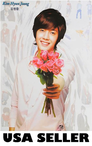 Kim Hyun Joong of holding roses Poster Korean Kpop idol from boy band sent