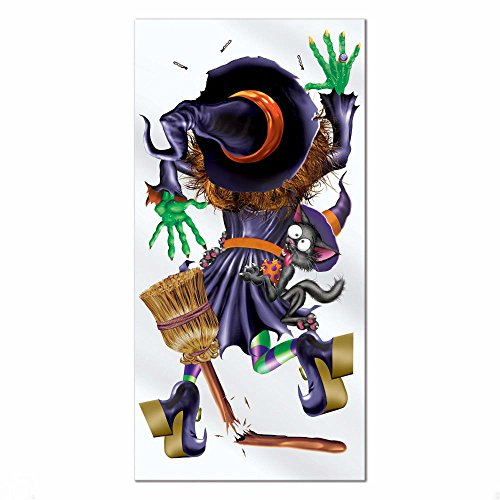 Witch Crashing Door Cover (1 HALLOWEEN Party Decoration Prop CRASHING WITCH Wall DOOR COVER)