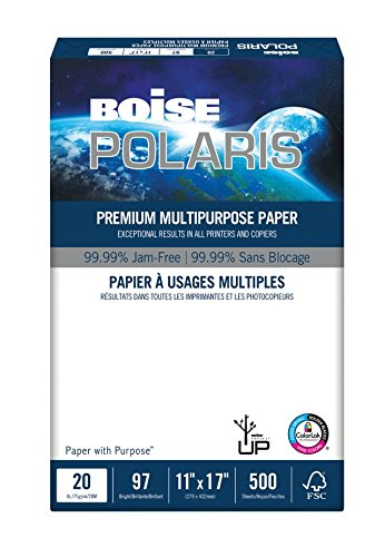BOISE POLARIS PREMIUM MULTIPURPOSE PAPER, 11'' x 17'', Ledger, 97 Bright White, 20 lb., 2500 Sheets/Carton, 40 Cartons/Pallet
