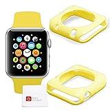 Etui coque de protection JAUNE en silicone pour Apple Watch (iWatch) montre connectée écran 38mm tous modèles (Basic, Sport, Edition) + Chiffon BONUS