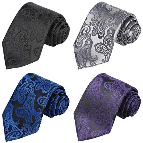KissTies 4PCS Paisley Ties For Men Mens Cold Colors Neckties + 1 Magnetic - Men Necktie Accessories