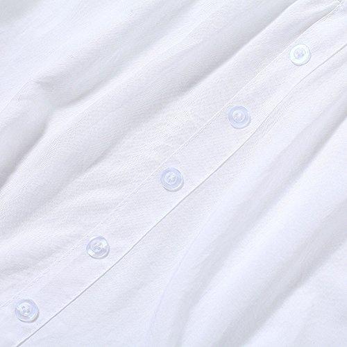 T Bluse Cucitura Autunno Tumblr Pizzo Moda Collo Bianca Maglietta V Tops Tees Casual Simple Maniche Camicie Shirts e Unita Fashion Tinta Primavera 3 4 Donne Quotidiani vtwOfPOq