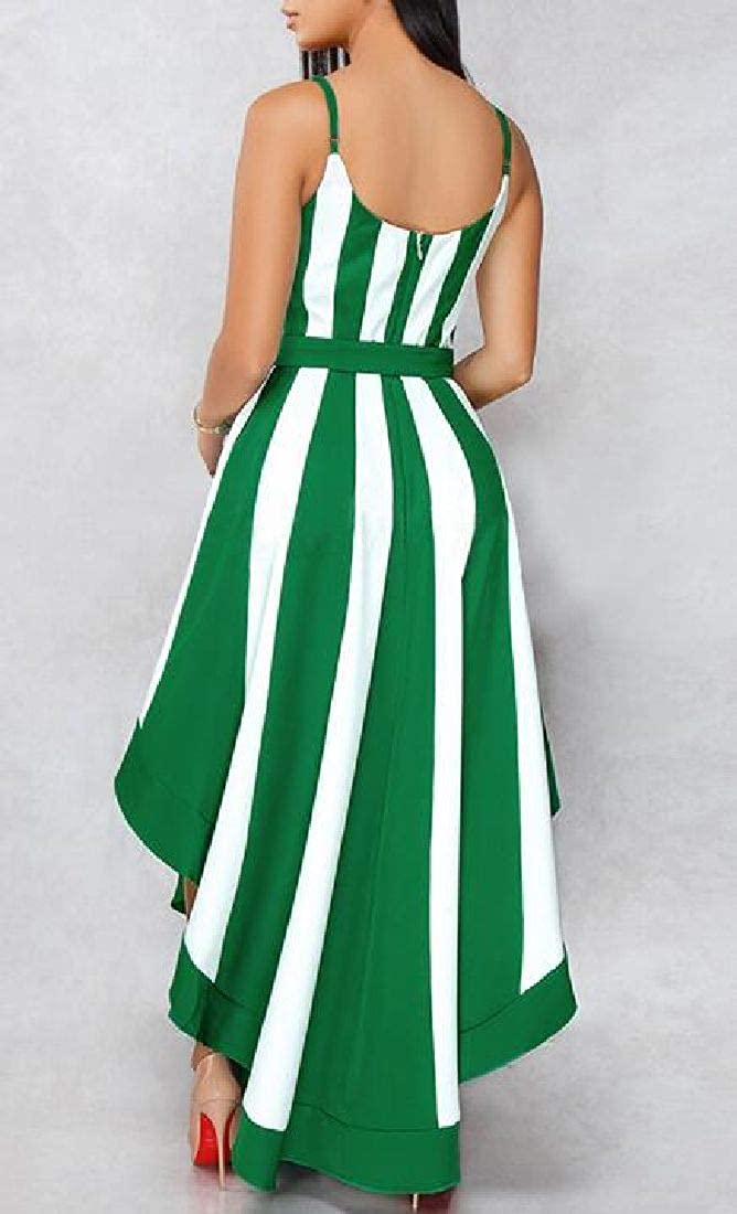 MOUTEN Womens Swing Belted Classic Irregular Contrast Color Party Cocktail Dress