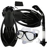 Promate Snorkeling Scuba Dive DRY Snorkel PURGE Mask Fins Gear Set, Black, ML/XL