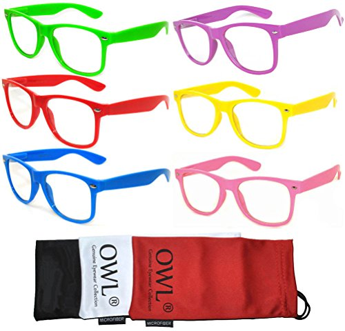 6 Pairs Classic Vintage Clear Lens Sunglasses Colored Frame for Men or Women OWL ()