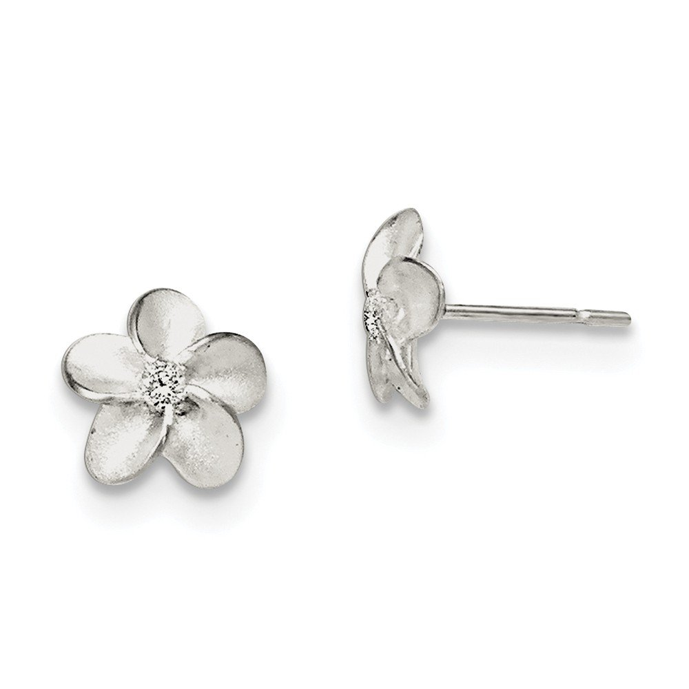 Diamond2Deal Solid 925 Sterling Silver Round Cut Cubic Zirconia Flower Stud Earrings
