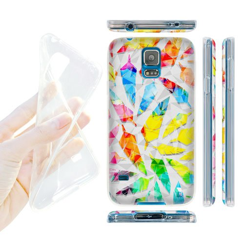Head Case Designs Watercolour Geometric Feathers Soft Gel Back Case Cover for Samsung Galaxy S5