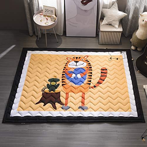 Baby Kids Play Mat Cotton Crawling Cushion, Kids Room Rug Floor Gym, Non-Toxic Non-Slip Washable Reversible Room Decor Floor Rug, Activity Floor Carpet (Tiger)