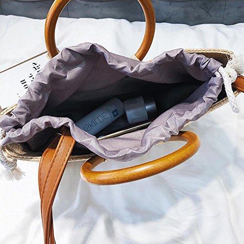 una Gran bandoulière de Mujer playa hombro bolsa portátil playa de maciza Bolsa salvaje redondo bolsa bolsa Crossbody nuevo ratán de tejeduría hombro fancylande pajita el de madera 1xqdnw408