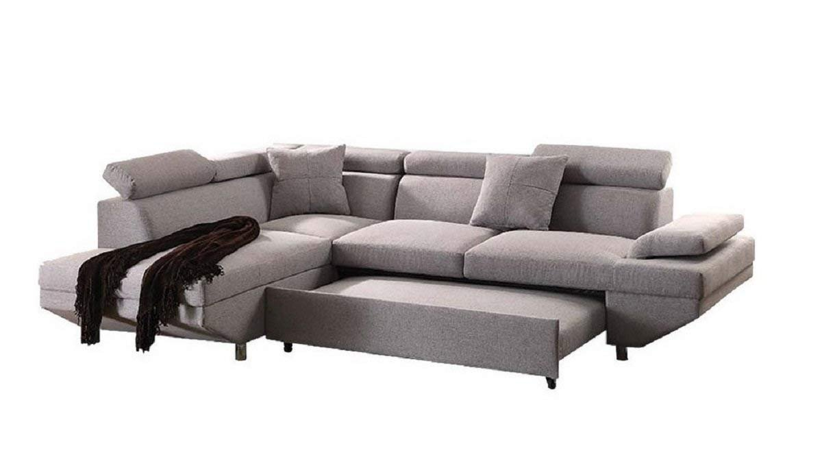 Q-Max SH1251 Q-Max 25 H Contemporary Style L Shape Sectional Pocket Coil Seat Sofa and Chaise with Pull-Out Sleeper in Gray Fabric Gray 25