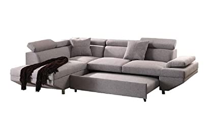 """Q Max Sh1251 Q Max 25"""" H Contemporary Style L Shape Sectional Pocket Coil Seat Sofa And Chaise With Pull Out Sleeper In Gray Fabric, 25"""", Gray by Amazon"""