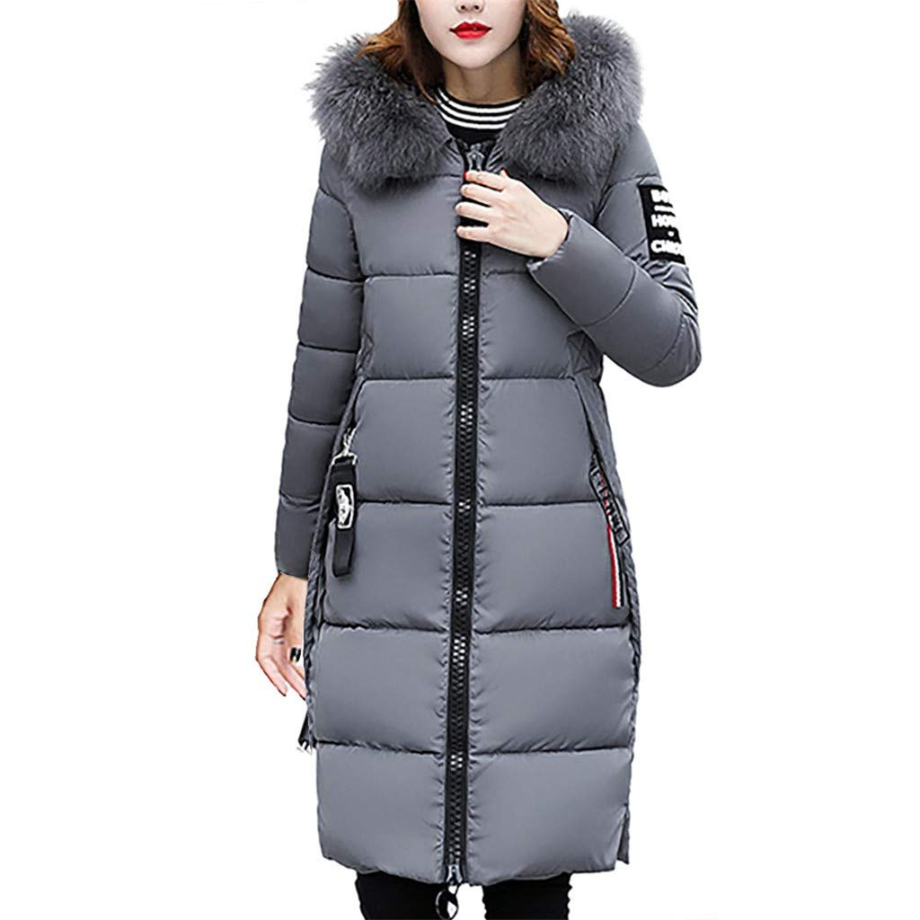 FengGa Women Solid Casual Thicker Winter Slim Down Jacket Coat Long Slim Overcoat Gray by FengGa
