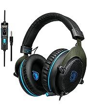 SADES 801 Stereo Surround Sound Kopfhörer Gaming Headset 3,5 mm Kabel Over-Ear-Kopfhörer mit Mikrofon Mic Lautstärkeregler für PC Xbox one PS4 Laptop