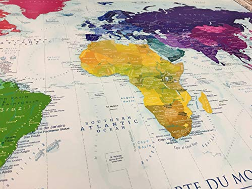 The Rainbow World Map - Use as a Wall Map or Push Pin Map - Framed Wall Map  that includes Educational Referencing- Designed by a Professional