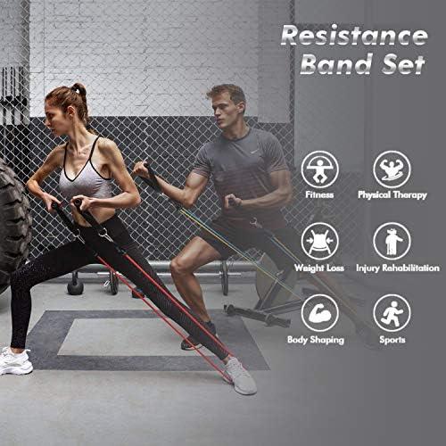 2 Beinkn/öchel Physiotherapie Fitnesstraining f/ür Krafttraining 5 stapelbare /Übungsb/änder mit T/üranker Vinpie Resistance Exercise Bands Set,Widerstands/übungsb/änder Heimtraining 2 Griffe Yoga