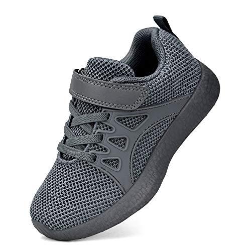 KIKOSOCKS Kid's Sneaker Boys Girls Ultra Lightweight Running Shoes Breathable Gym Tennis Athletic Shoes Grey/Black 10.5 M - Tennis Boys Childrens Shoes