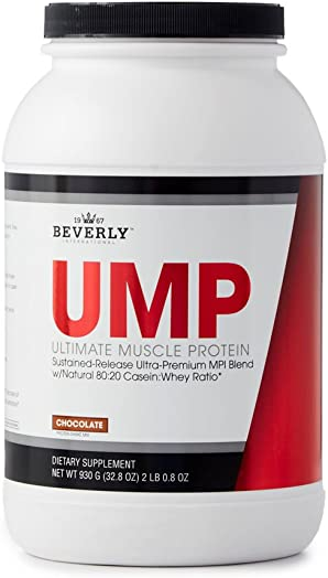 Beverly International UMP Protein Powder 30 servings, Chocolate. Unique whey-casein ratio builds lean muscle and burns fat for hours. Easy to digest. No bloat. 32.8 oz 2lb .8 oz