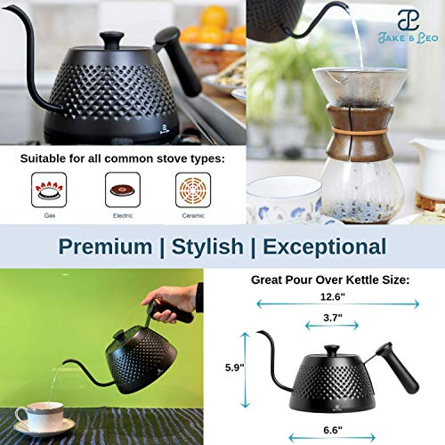Jake & Leo Pour Over Kettle - Premium Stylish Dimpled Design, Stainless Steel - Gooseneck Specialty Kettle for Kitchen Stovetop - 34oz, Matte Black, Long Spout for Boiling, Pouring; Brew Coffee & Tea by Jake & Leo (Image #1)