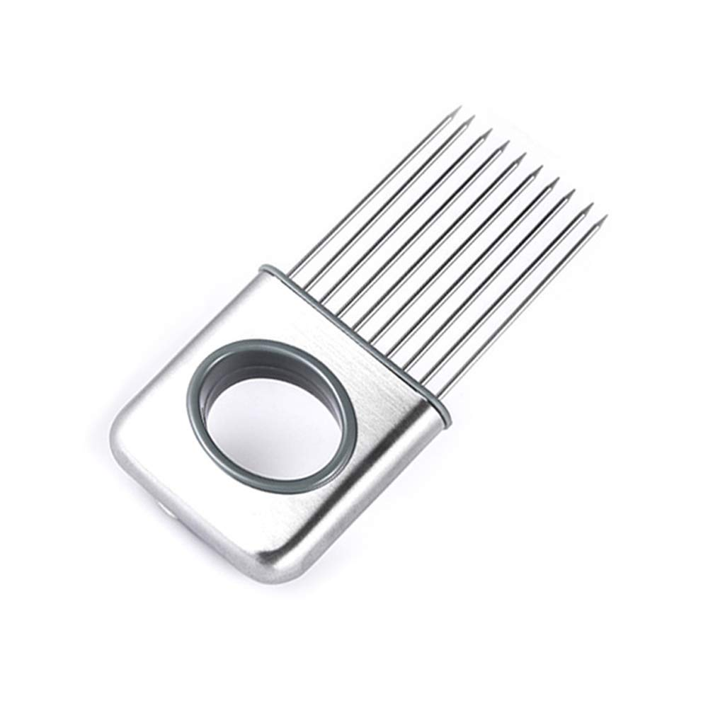 Stainless Steel Onion Silcing Holder With 10 Even Prong Easy Hold Tomato Vegetable To Cut, Sliver Color
