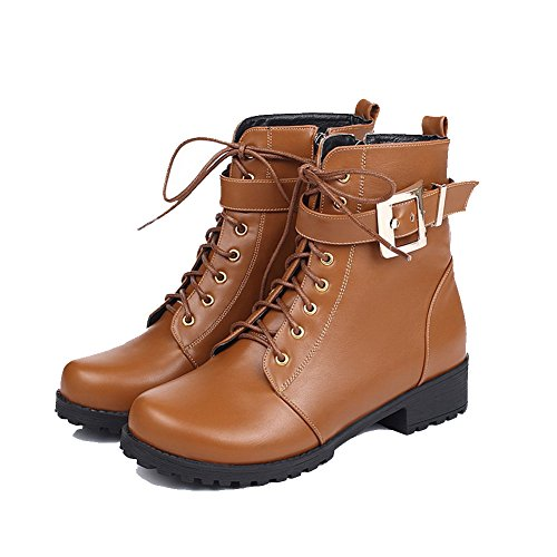 Allhqfashion Women's PU Low-top Solid Zipper Low-Heels Boots Brown uLxU0