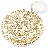 Mandala Life ART Bohemian Decor Floor Cushion - Insert Included - 30'' Round Floor Pillow Pouf - 100% Hand Printed Organic Cotton (Gold)