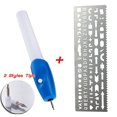 Engraver Pen Cordless Etching Tools with Metal Ruler Letter Stencils - 2 Styles Tips - for - Wood -Metal - Plastic - Zippo - Jewelry -Glass and (Metal Etching Stencils)