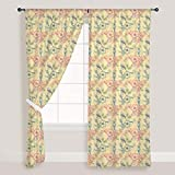 AZ Spring Flowers Door & Window Curtain Satin 4feet x 11feet; SET OF 3 PCS