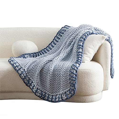 Bedsure Chunky Knit Blanket - Knitted Throw Blankets Soft Big Yarn Thick Braided Knot Crochet Cable Rope Handmade Giant Blankets and Throws(Blue, 50