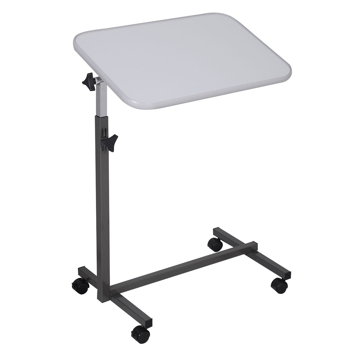 Gary Overbed Rolling Table Over Bed Laptop Food Tray Hospital Desk Tilting Top