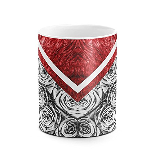 Crimson Red Fur Gray Roses & Ocean Blue Lizard Skin Pattern White Heat Resistant Ceramic Tea Coffee Mug - (Bowl Stoneware Lizard)