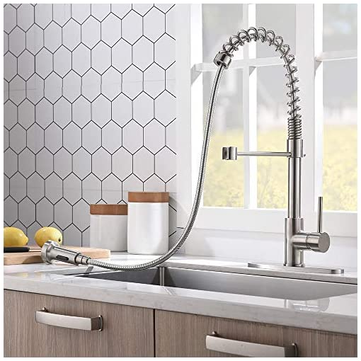Farmhouse Kitchen VCCUCINE Kitchen Faucet with Pull Down Sprayer, Commercial Brushed Nickel High Arc Single Handle Stainless Steel Pull… farmhouse sink faucets