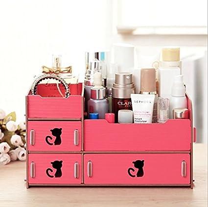 Home-Neat tuercas de escritorio de almacenamiento Cute Cat Display Boxes Caja Madera Estante de