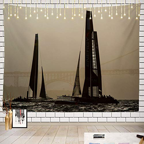 (Batmerry World Tapestry, Racing Yacht at The Americas Cup Race Picnic Mat Beach Towel Wall Art Decoration for Bedroom Living Room Dorm )