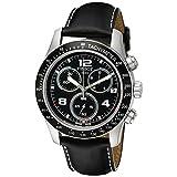 Tissot Men's T0394171605702 V 8 Black Leather Strap Chronograph Dial Watch