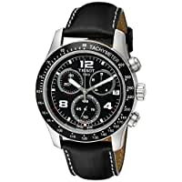 Tissot Men's T0394171605702 V 8 Stainless Steel Chronograph Watch With Black Leather Strap